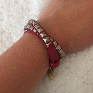 Fuchsia Studded Leather Wrap Belt Bracelet